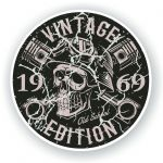 Distressed Aged Vintage Edition Year Dated 1969 Biker Skull Roundel Vinyl Car Sticker Decal 87x87mm